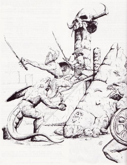 One against the lizardmen. (From the AD&D Fiend Folio, TSR