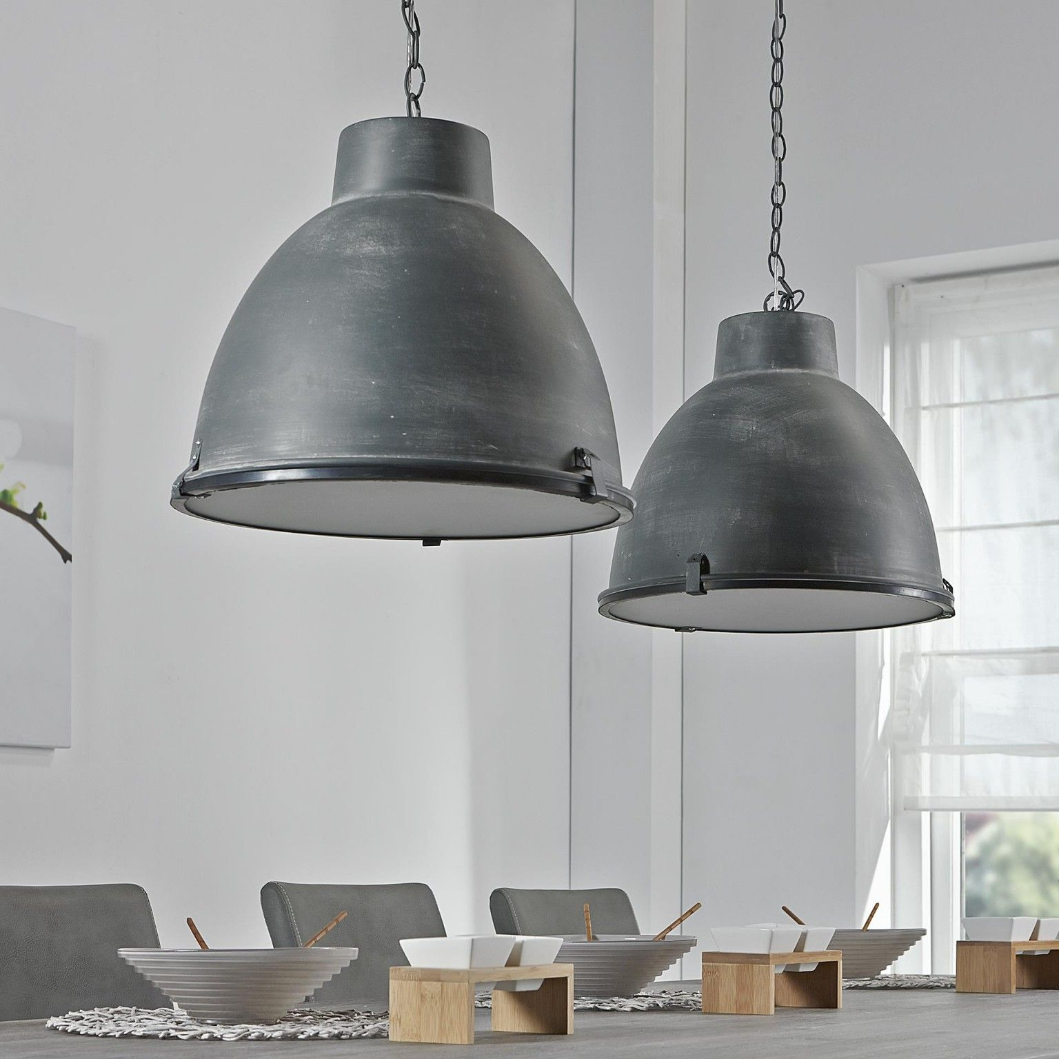 Industriële Hanglamp \'Brigida\' met dubbele kap, kleur grijs ...