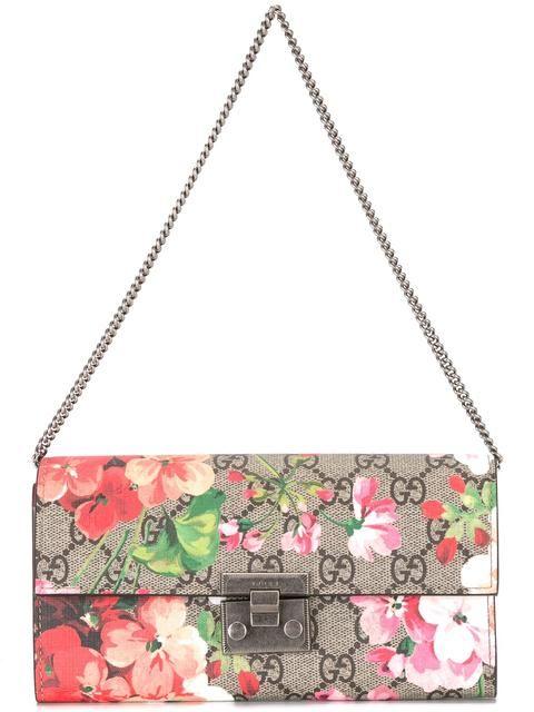 89267a808e7 GUCCI Blooms Print Gg Supreme Padlock Wallet. #gucci #wallet | Gucci ...