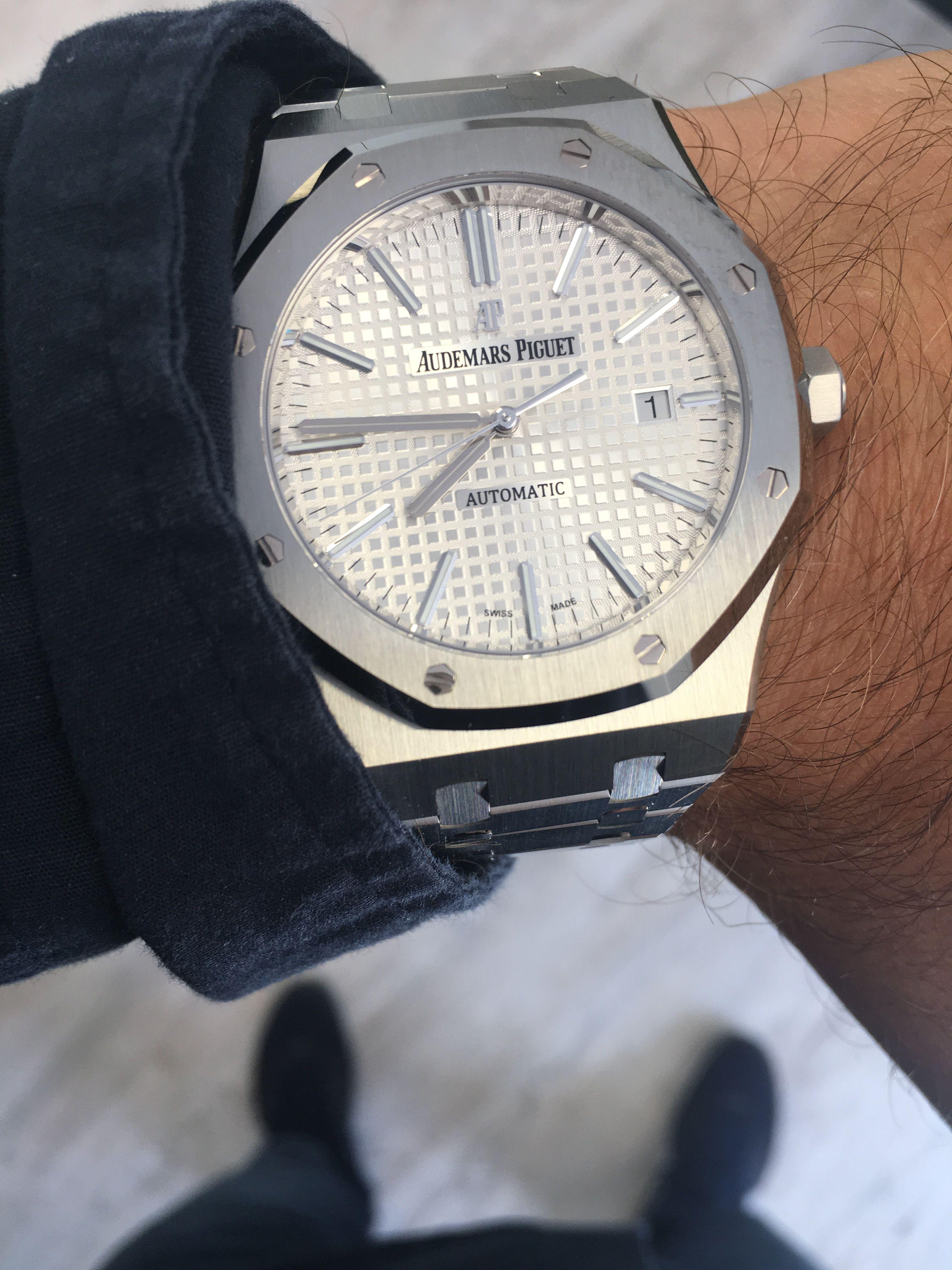 Audemars Piguet Royal Oak Automatic Chronograph Black Silver Dial Bracelet Watch
