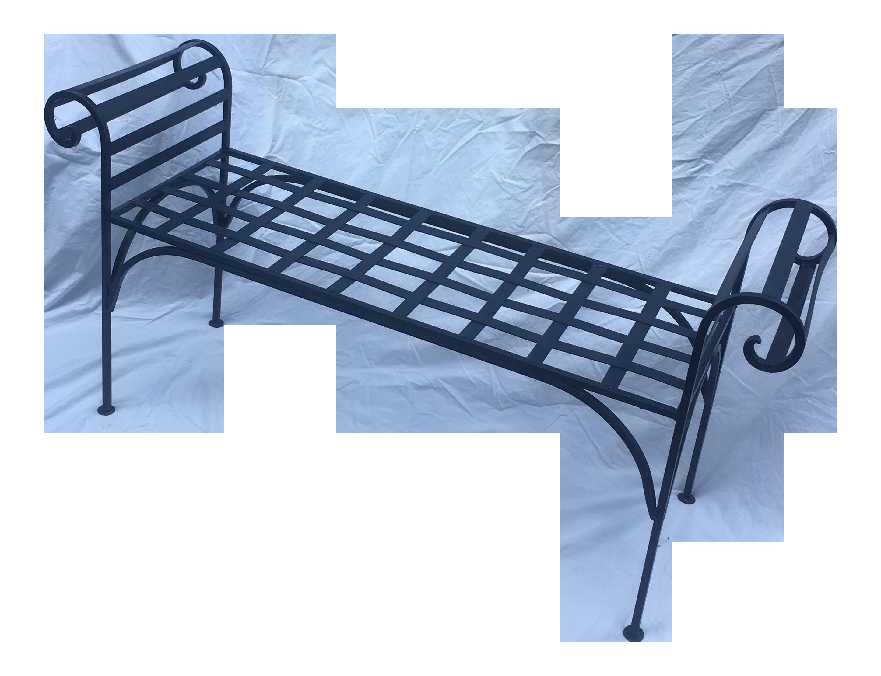 1990s Boho Chic Lattice Wrought Iron Backless Bench On Chairish Com Wrought Iron Bench Iron Bench Wrought Iron