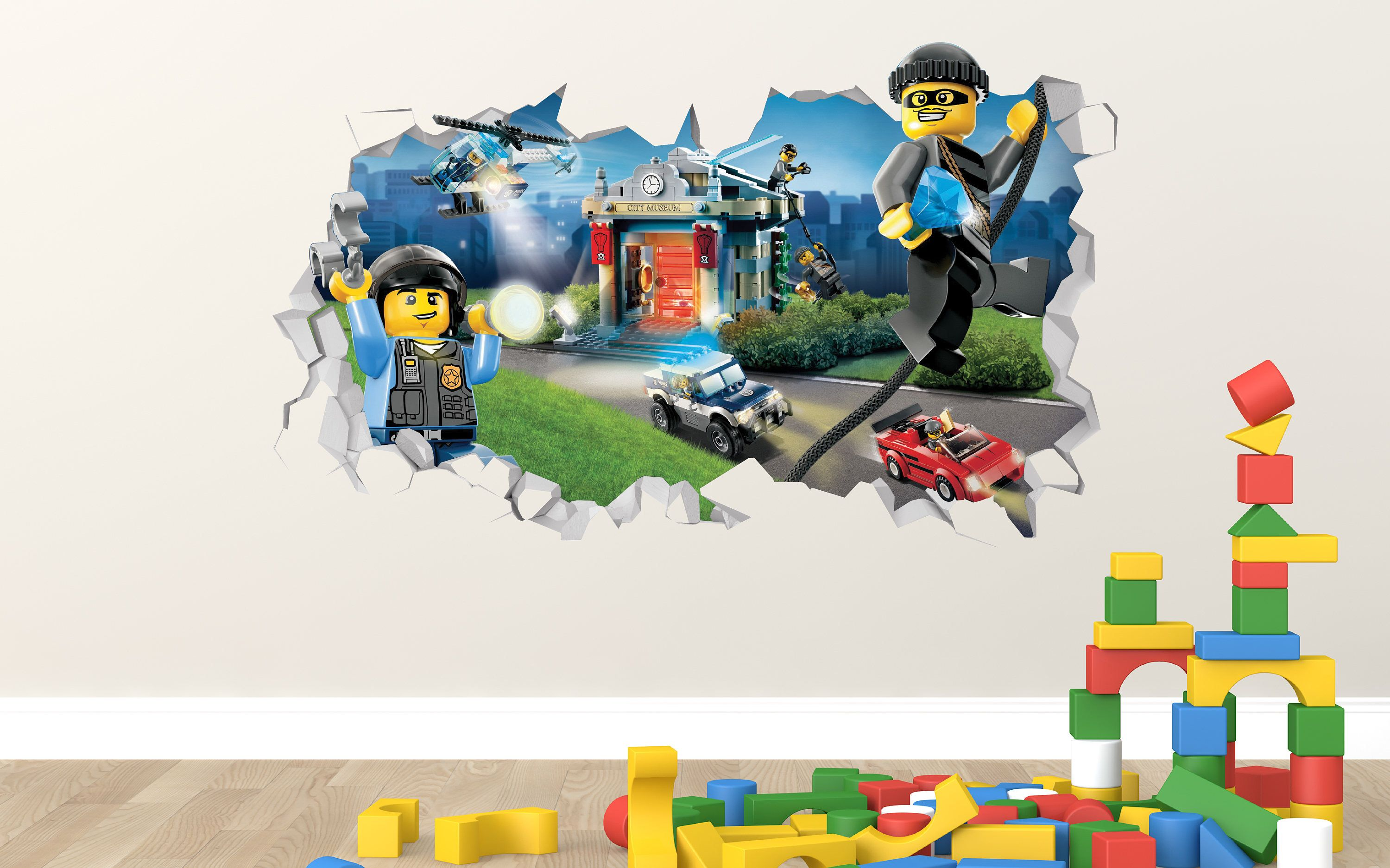 Lego City Police Adventure Wall Decal Lego City Police Smashed Sticker Kids 3d Smashed Art Ls30 By Latera Batman Bed Set Bedding Set Pink Nursery Bedding