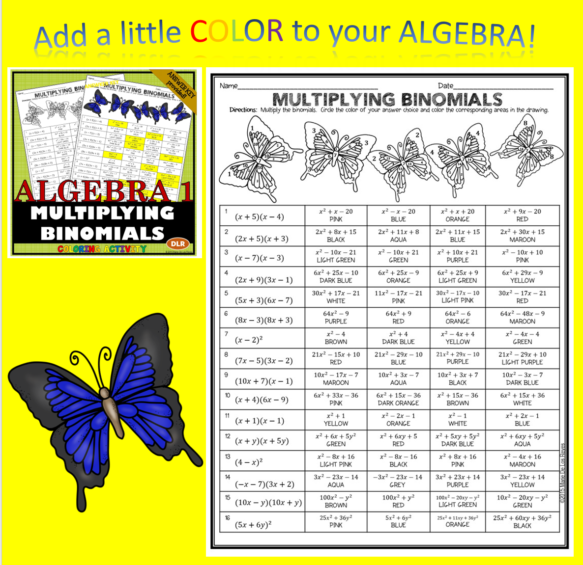 Students Will Multiply Binomials In This 16 Problem Coloring
