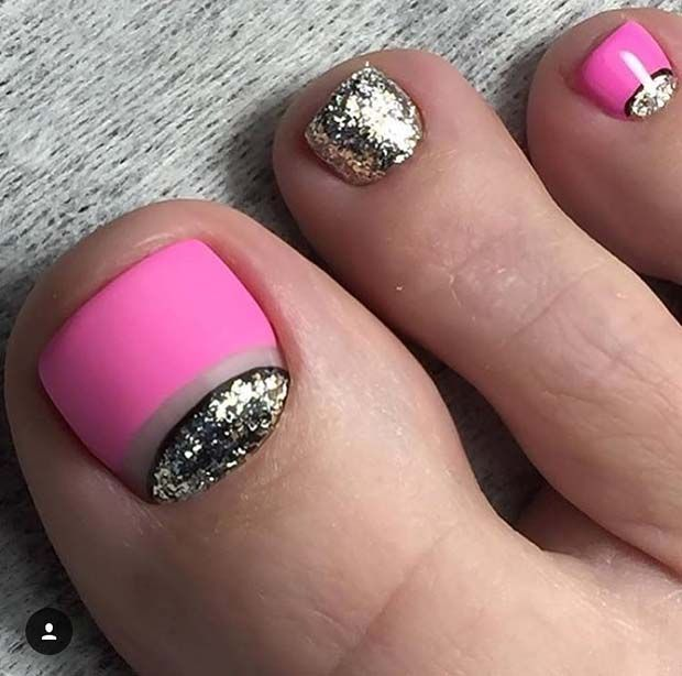 Matte Pink And Glitter Toe Nail Design For Spring Summer