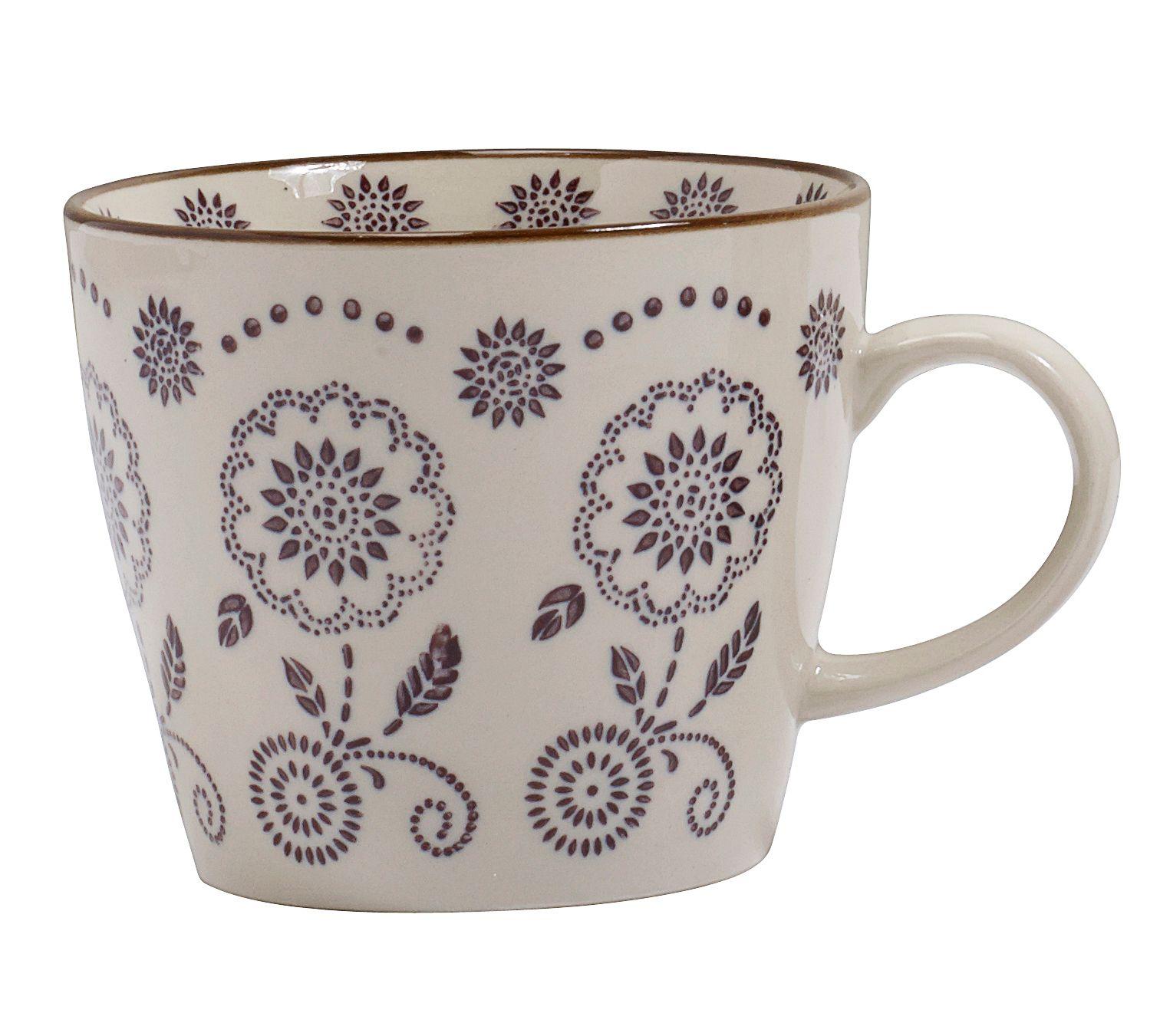 Diese hübsche, handbemalte Keramiktasse von Nordal, mit floralem Muster, wird zu Ihrem Lieblingsstück auf dem Frühstückstisch.