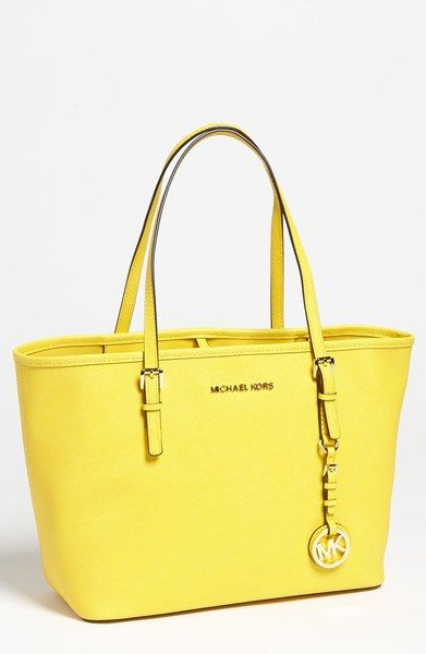 242e6b055a Michael By Michael Kors Yellow Jet Set Small Travel Tote