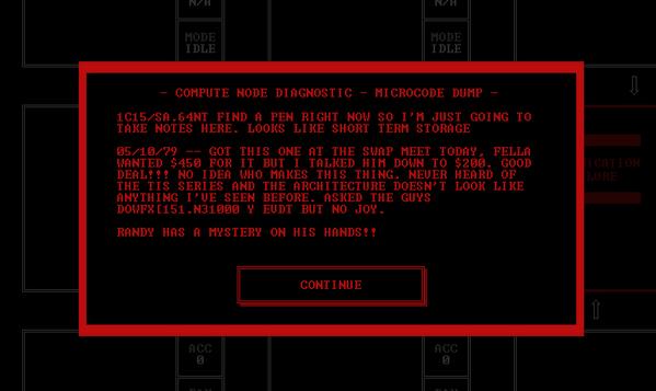 Program a strange, corrupted computer and discover its secrets