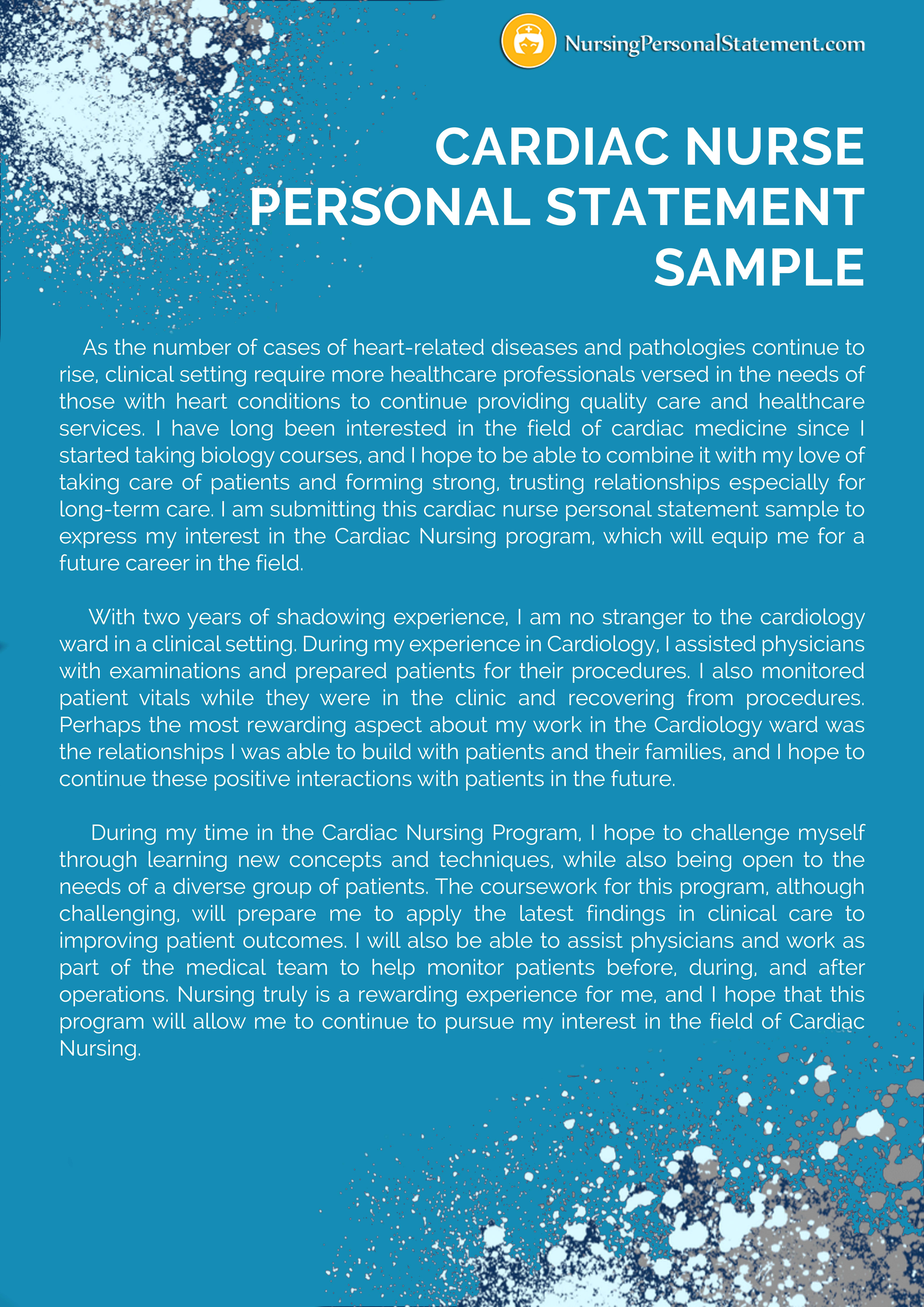 Cardiac Nurse Personal Statement Sample Nursing Examples Physiology