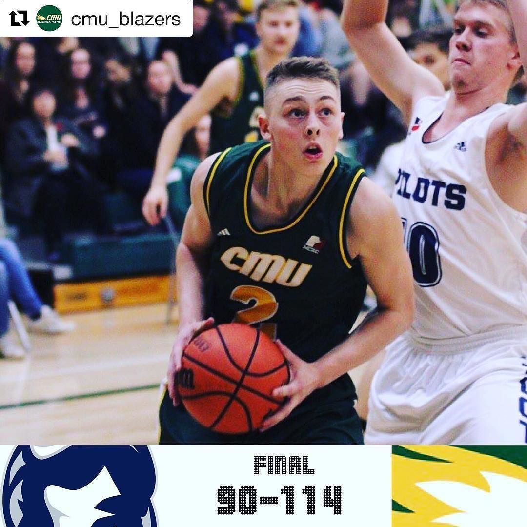 @cmu_blazers Men's Basketball with a 114-90 win over  Prov Pilots. The teams traded leads for the opening three quarters but CMU rolled in the final 10 minutes to take the win. Evan Klassen scored 23 points and added 9 boards 3 assists and 3 steals. The Blazers next home game is Tuesday November 15 against the College Wesmen.