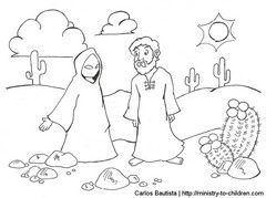 The Devil Tempting Jesus In Desert Coloring Page Also Has A Color By Number Version