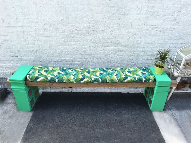 Cement Block Bench And Bench Cushions Concrete Masonry How To Outdoor Furniture Painted Furniture Reupho Cement Blocks Garden Bench Cushions Outdoor Bench