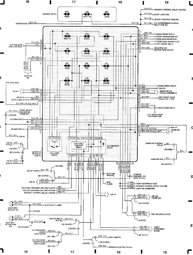 fig 5 junction block 1 j b 1 grid 16 19 1991 toyota