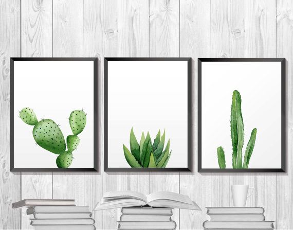Green Plant Print Cactus Printable Botanical Southwestern Art
