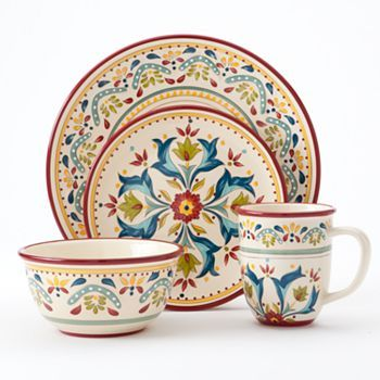 Sale $39.99 Bobby Flay Sevilla 4-pc. Place Setting could mix with the blue for 8 place setting (alternate or mix)  sc 1 st  Pinterest & Bobby Flayâu201e¢ Sevilla 4-pc. Place Setting Multicolor | Place ...