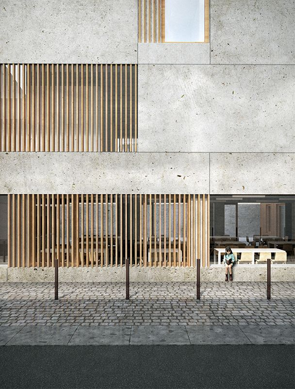 Wood Pattern Elevation : Mima brut pôle d accueil restaurant prévention