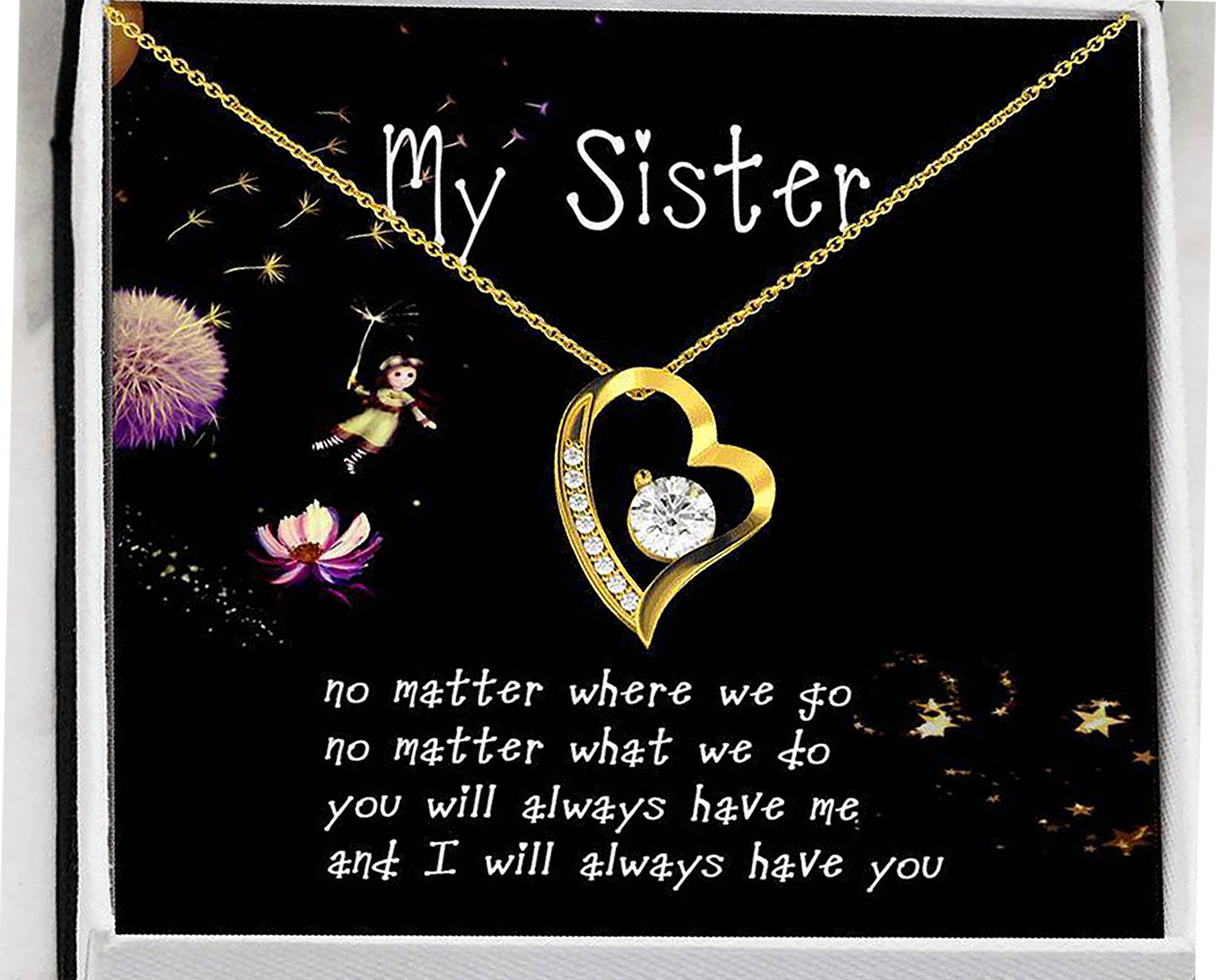 Sisters Necklace With Message Card Sister Birthday Gifts Etsy In 2020 Birthday Gifts For Sister Little Sister Gifts Message Card