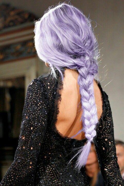 Purple hair. Braid. Long hair. Light purple hair. Hair. Purple.