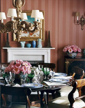 A Special Dining Room - stripes give height & gives levity; evokes Regency period