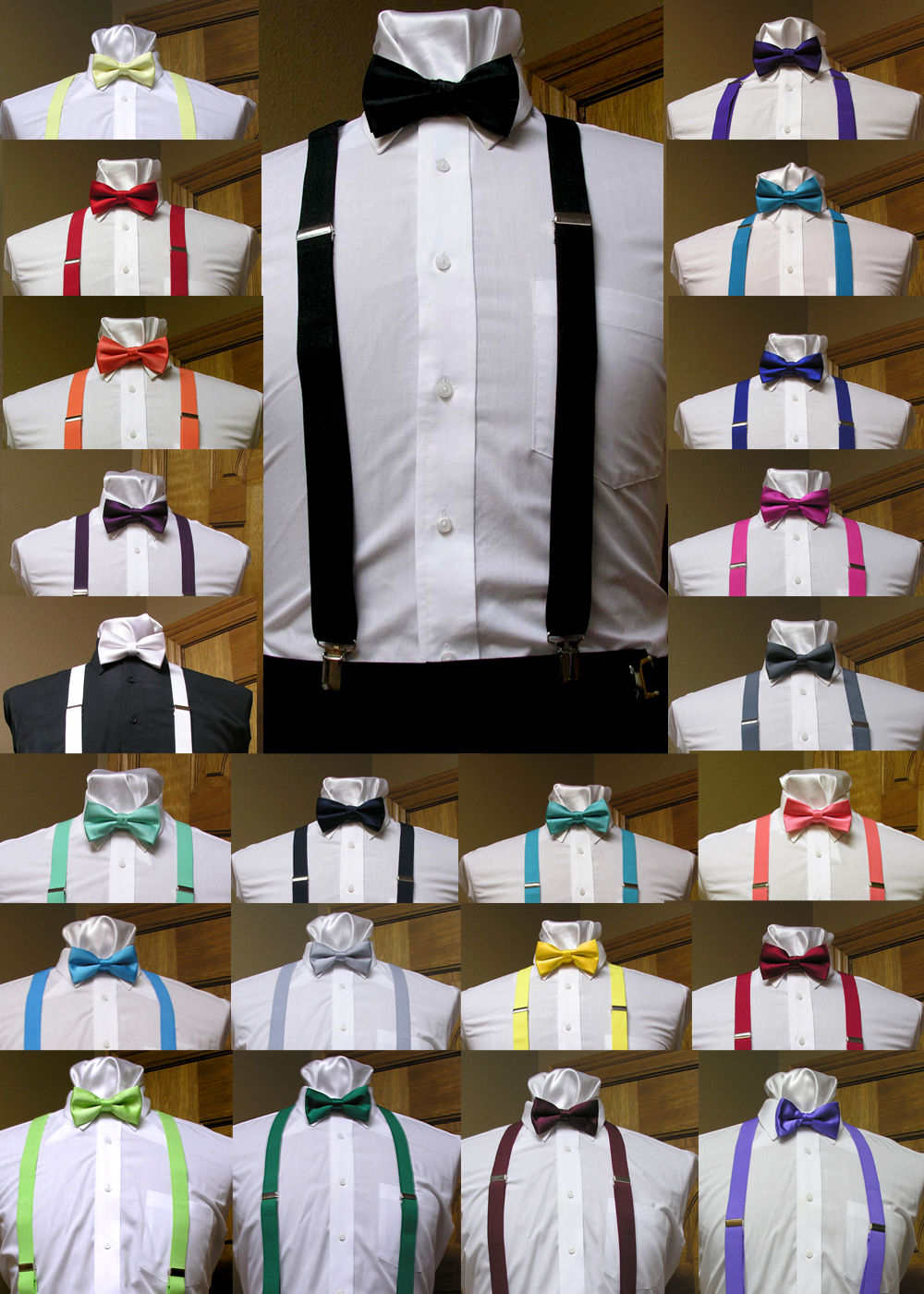 Suspenders Men/'s clip-on Y back and Bow Tie Retro Steampunk Costume Tux Prom