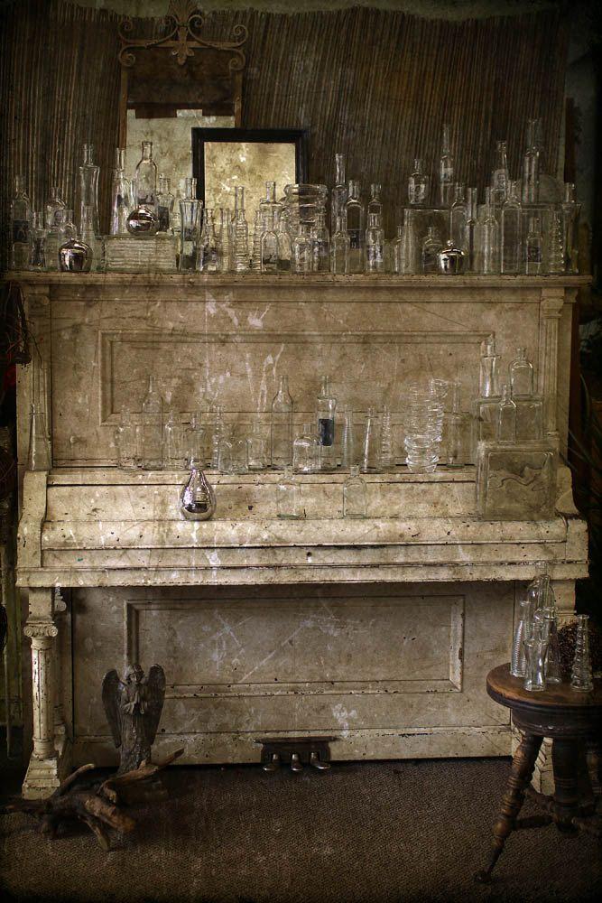 10x15 Room: Piano Photograph, Glass Bottles, Music Print, Home Decor