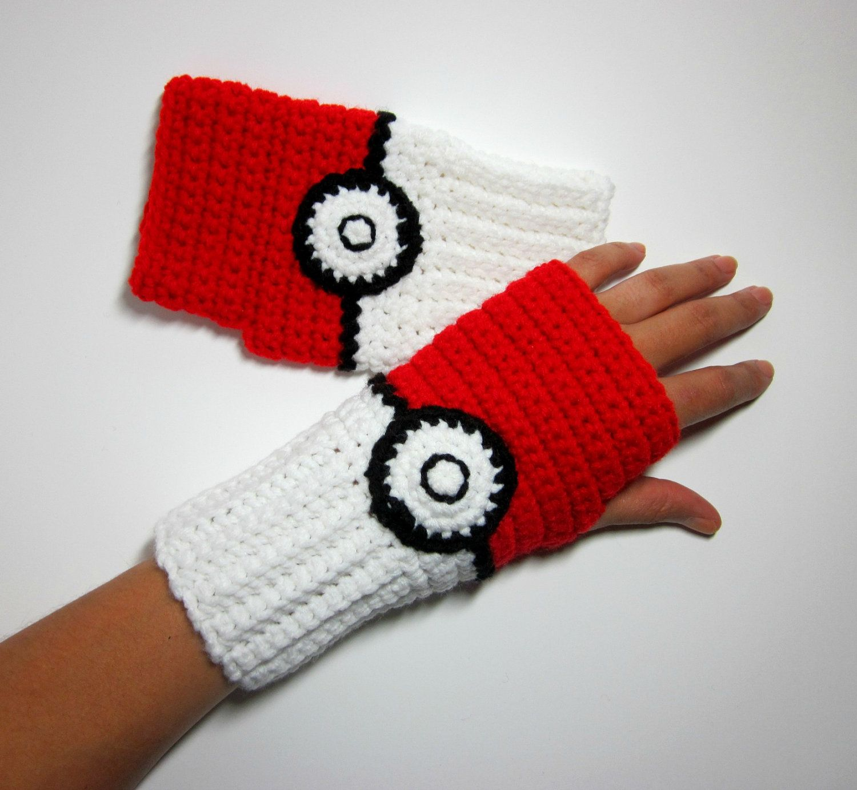 Fingerless gloves for gaming - Geeky Gauntlets Pokeball Inspired Wristwarmers Super Gamer Series Pokemon Fingerless Gloves Nintendo Video Comic Anime Accessory Cosplay