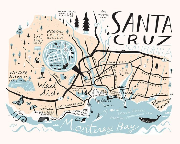 Santa Cruz California Map.Printable Wall Art Vintage Map Old Americas Instant Download In