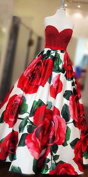 Sleeveless Beaded Red Flowers Sweetheart Long Prom Dresses, SG131 #flowerdresses
