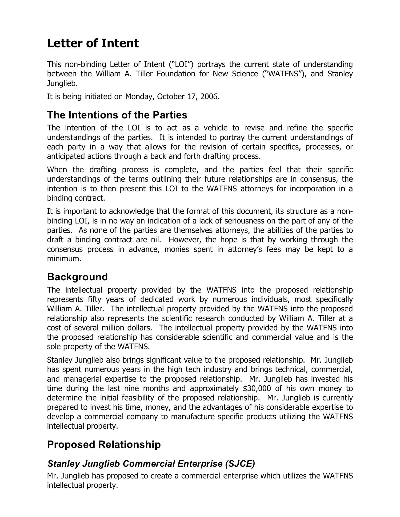 Example Letter Of Intent Letter Of Intent Simple Cover Letter Template Letter Template Word