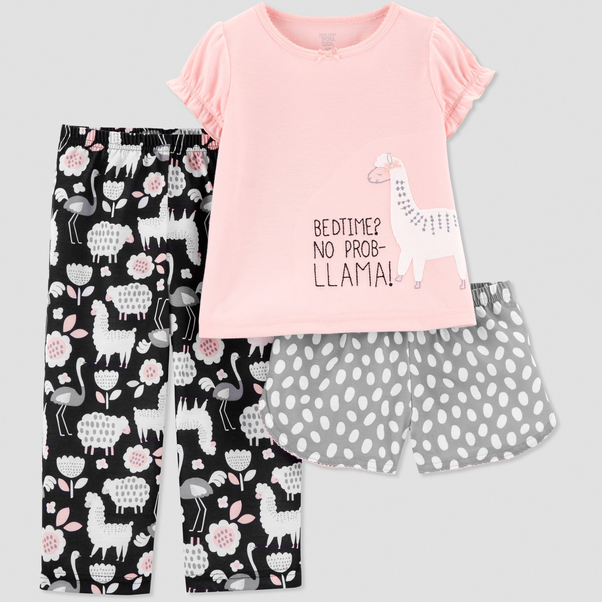 be4afcefc Toddler Girls  3pc Llama Pajama Set - Just One You made by carter s Pink 4T