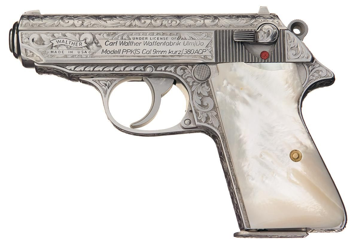 Factory Engraved American Walther PPK/S Semi Automatic Pistol with Pearl Grips