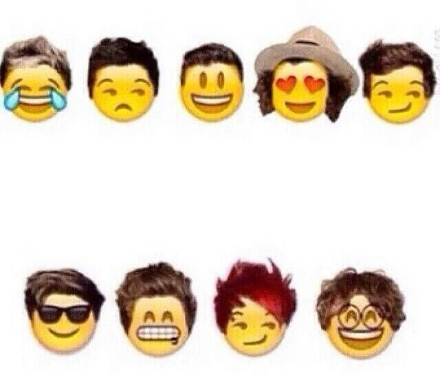 One Direction and 5SOS as emojis (so accurate lol)