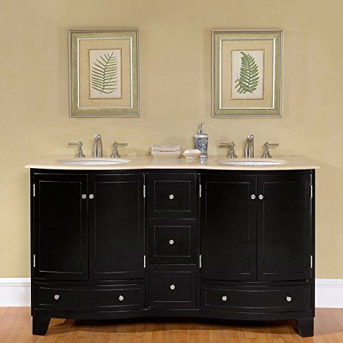 Silkroad Exclusive Marble Top Double White Sink Bathroom Vanity With Espresso Cabinet 60 Inch