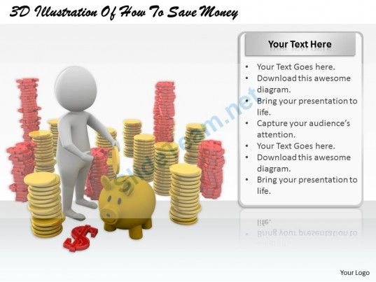 1813 3D Illustration of How to Save Money Ppt Graphics Icons Powerpoint #Powerpoint #Templates #Infographics