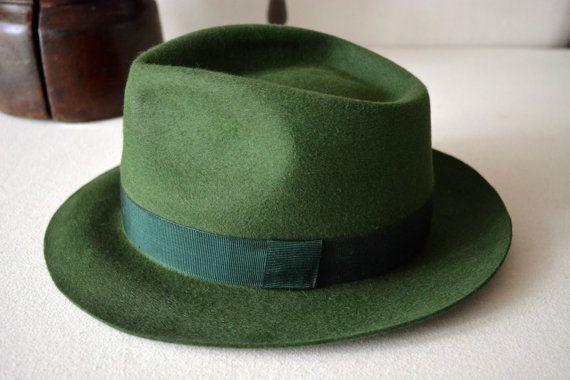 Forest Green Fedora Fur Felt Handblocked by HatsNCompany on Etsy ... db2c5ea9125