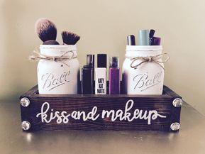 Kiss and makeup Mason jar makeup - cosmetic storage images