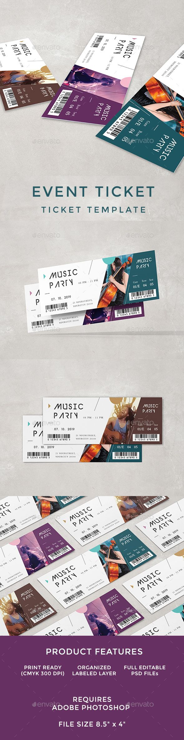 Concert Ticket Template Free Download Alluring Event Ticket  Event Ticket Print Templates And Template