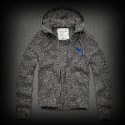 アバクロ メンズ ニット  Abercrombie&Fitch Buck Pond Sweater ジップ パーカー  リブ編込みとストライプ模様の素材とフードとカンガルーポケットのシルエットが惹かれるポイント!