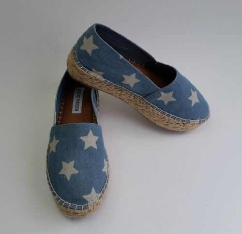 d3c32b7ba3c Steve Madden Shoes Slip On Espadrilles Denim Stars Blue White Talan Size 7  New