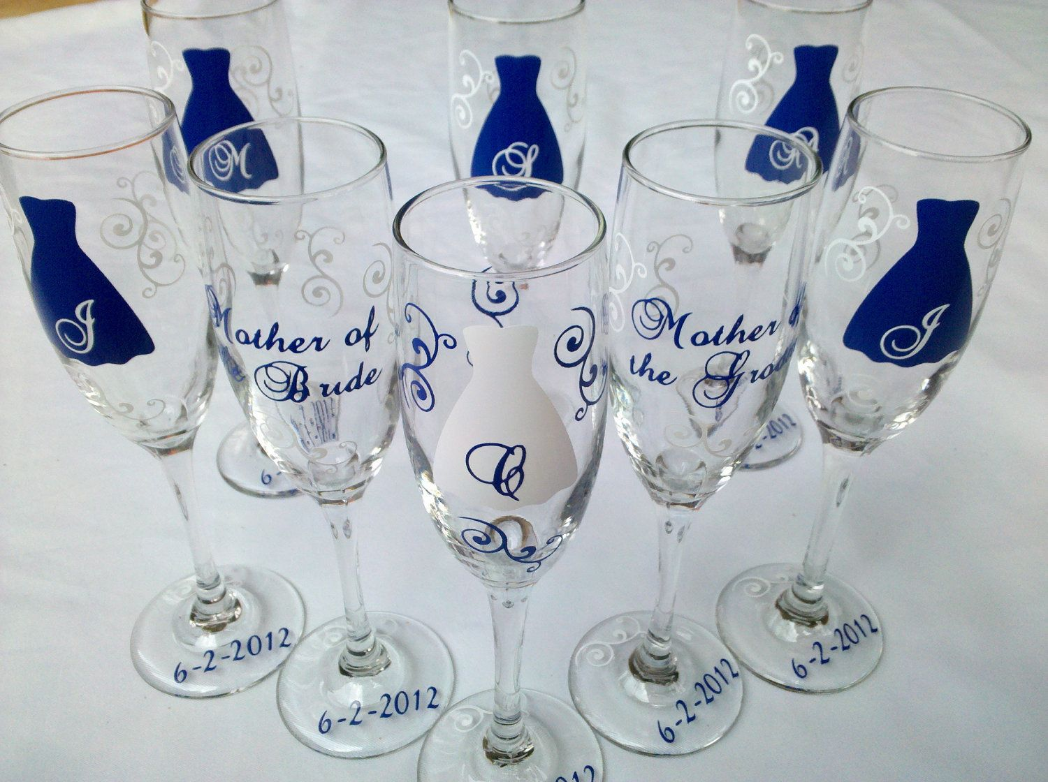8 Bride and Bridesmaids champagne flutes, Personalized set of custom ...
