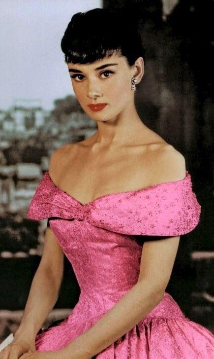 Audrey Hepburn in an adoring pink party dress. | audrey | Pinterest ...