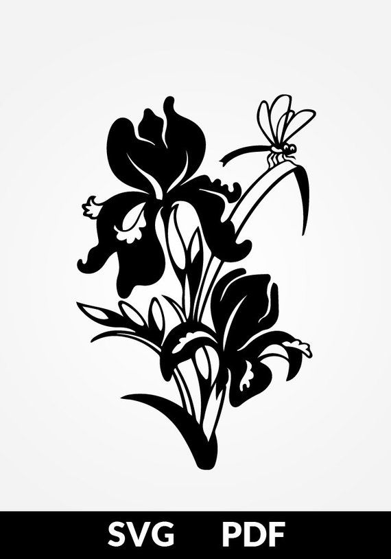 Pdf Cut File Paper Cutting Template Iris Flower Papercut