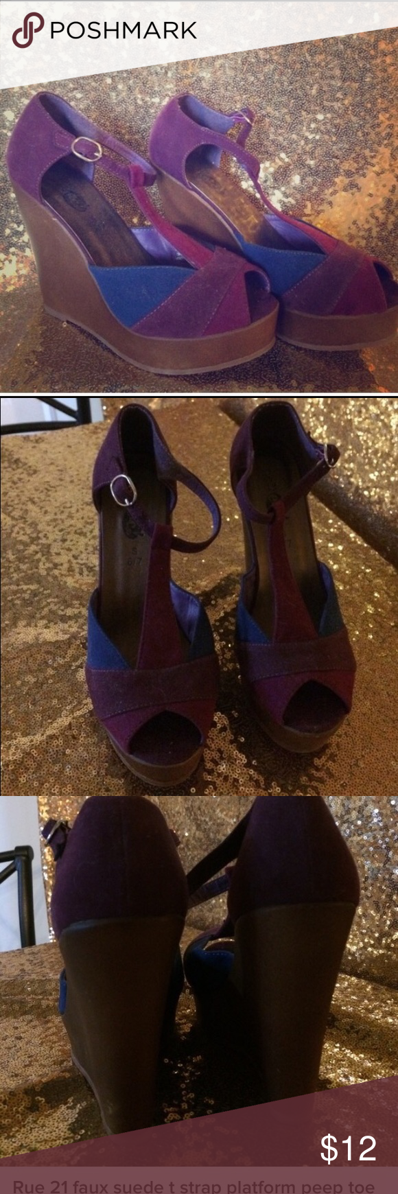 Rue 21 faux suede t strap platform shoes 👠 Rue 21 t strap faux suede platform shoes 👠 peep toe. Size 6/7  best fits size  6 1/2 some scuffs from storage , never been worn. Rue 21 Shoes Platforms