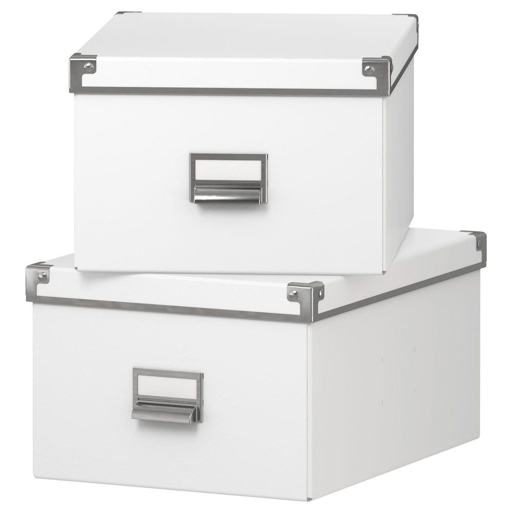 ikea kassett box mit deckel 2er set weiss aufbewahrung. Black Bedroom Furniture Sets. Home Design Ideas