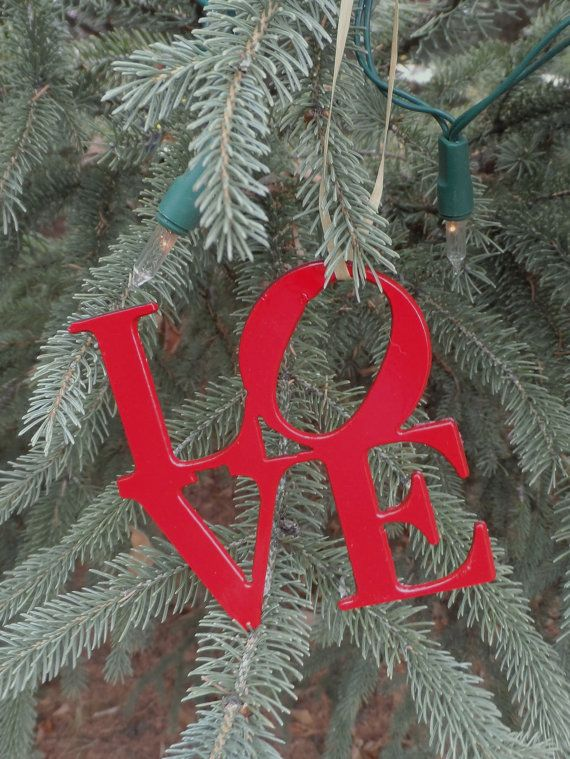 LOVE Ornaments by ssletters on Etsy