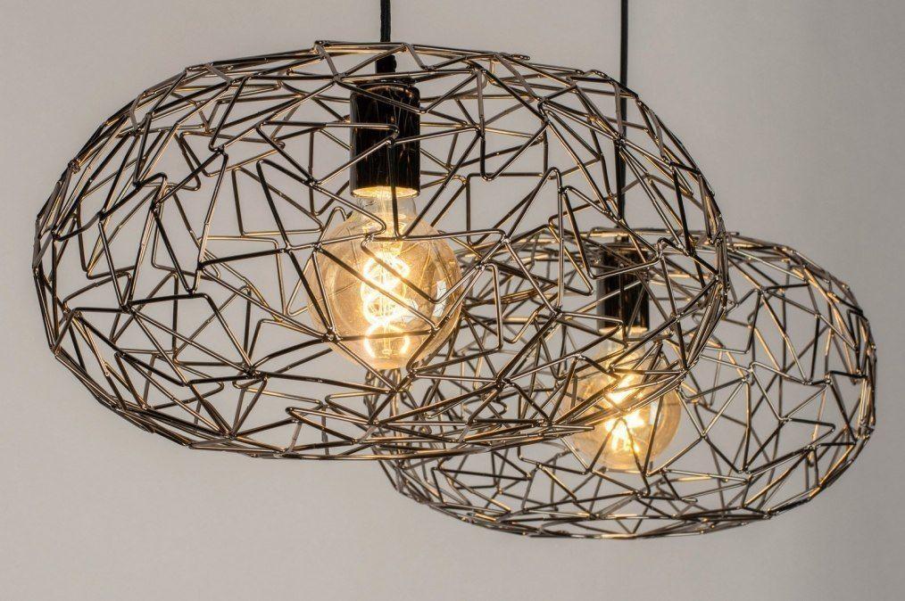 Hanglamp 12580: Modern, Metaal, Nikkel, Zwart   Hanglamp