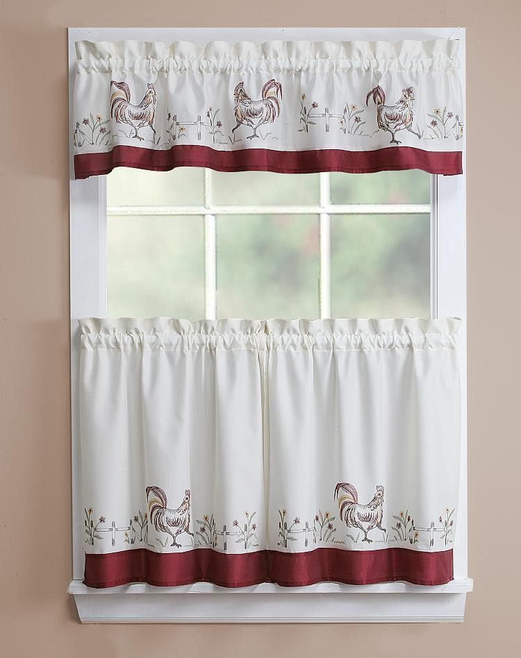 Rooster Kitchen Curtains Rooster Emb Kitchen Curtain 56x12