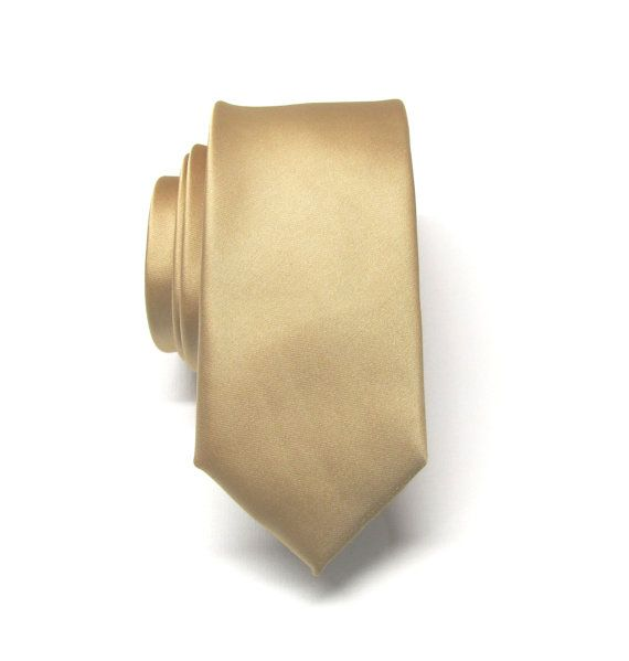Skinny Tie. Mens Tie Dusty Gold Skinny Tie With by TieObsessed
