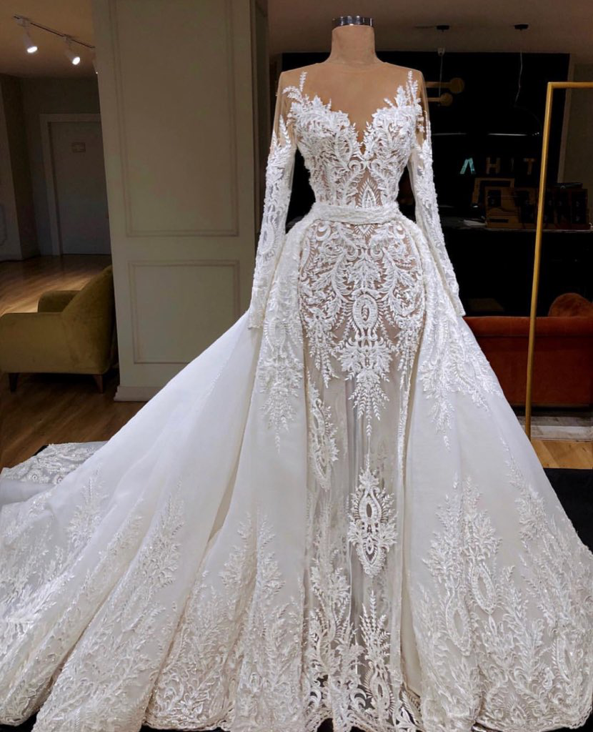 Lace Long Sleeve Drape Shoulder Tight Bodice Cinched Waist Tulle Train Wedding Gown Wedding Dresses Bridal Dresses Bridal Gowns