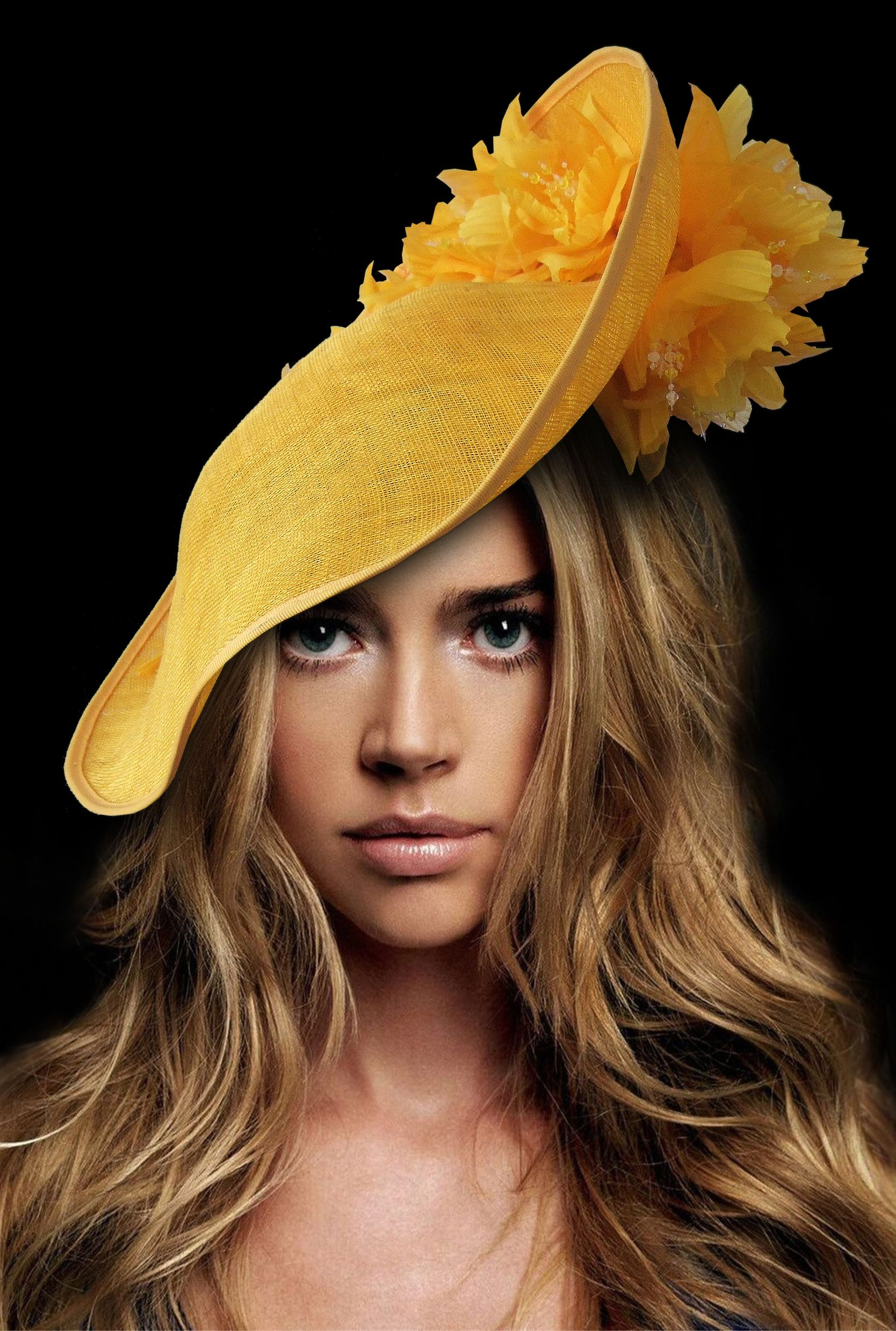 366c6c0a178 Golden Yellow Saucer Hatinator Fascinator. This years colour as seem on  Amal Clooney and Meghan Markle. Handmade in the UK and can make in other  colours by ...