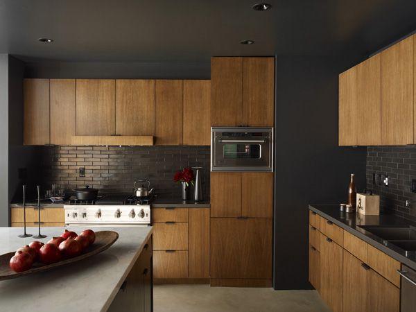 Timber Cupboard Doors With Black Trim And Bench Modern Kitchen Backsplash Kitchen Inspiration Design Modern Kitchen Design